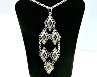 Vintage Silver Diamond Necklace Diamond Shape Long Pendant Filigree Cut Out Formal Jewelry Gift Idea for her Under 20