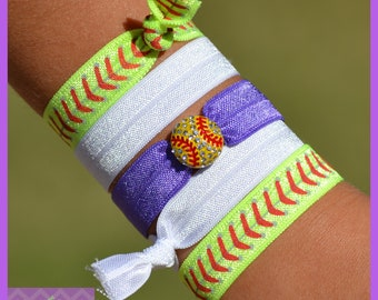 Softball Team Gift, Personalized Softball Gifts, Hair Ties w/ Team Colors & Softball Charm, Softball Coaches Gift, Team Gifts, Softball Mom