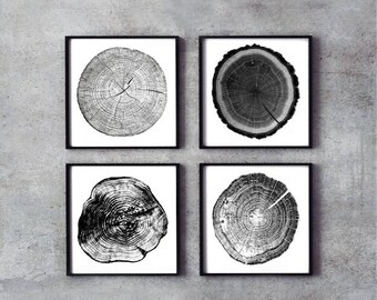 Set of 4 Tree rings,Tree stumps,wood decor,ink blot,black &white,tree print,gift for men,home cabin,lake,decor,tree art,log stump,nature,art
