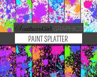 "Bright neon paint splatter Digital Paper: ""PAINT SPLATTER"" with bright, neon pink, purple, green, blue, orange for cards, crafts, party"