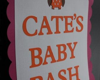 Owl Door Sign, Owl Baby Shower, Owl Baby Bash, Owl Party Supplies, Orange Hot Pink, Hoot Hoot