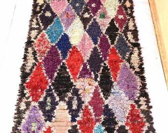 Vintage moroccan Boucharouit 9.9 × 4.1 feet / 297 × 150 moroccan  rug
