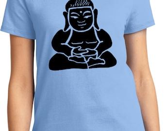 Yoga Clothing For You Ladies Shirt Shadow Buddha Tee T-Shirt = LPC61-SHADBUD