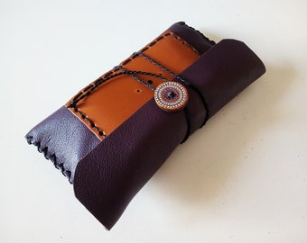 Purple, violet leather tobacco pouch