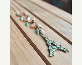 40% OFF SALE Vintage style Eiffel Tower pendant necklace with patina green finish, turquoise, pink, and rhinestone accent beads, 1710 Steps