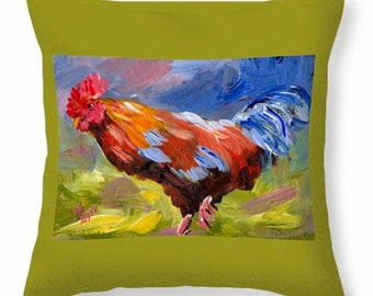Rooster, Throw Pillow, Different sizes, from original art by, Joe Byrd, Rooster collectibles, Hen art ,chicken art ,Farm art, rooster art