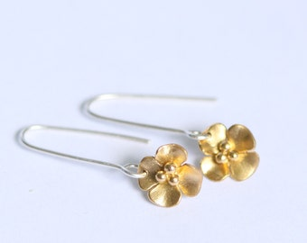 Gold plated Buttercup Drop earrings