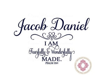 I am Fearfully and Wonderfully Made with Personalized Name Custom Baby Nursery Vinyl Wall Letterign Decal Ba0278