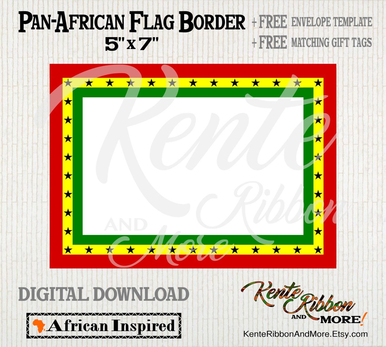 DIY - Printable Pan-African Ghana Flag 5x7 Border - 2-up on 8.5x11 ...