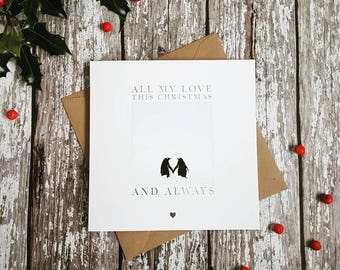 Silver Foil Penguin Love Christmas Card