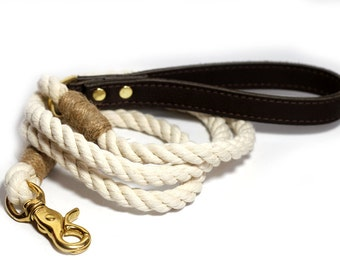 Rope Leash - Cotton rope with Leather handle