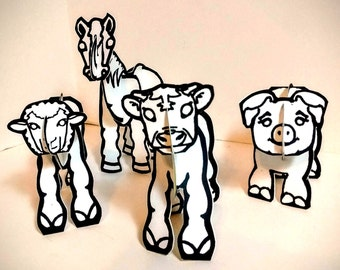 Farm Animals Set - Printable Coloring Toy