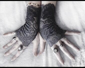 Delphine Lace Fingerless Glove Mittens - Dark Charcoal Grey Floral Fishnet -  Gothic Vampire Lolita Wedding Fetish Belly Dance Goth Bridal