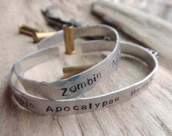 Zombie Apocalypse Buddy Cuff Bracelets- Matching Geek Fandom Set- Zombie Jewelry- Stamped Aluminum Metal Adjustable