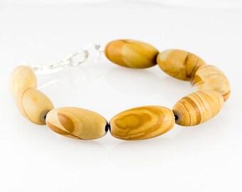 Unique Mens Bracelet/ Wood Agate Gemstone/ Surfer Jewelry/ eco jewelry/ agate jewelry/ statement jewelry/ mens bracelet/ mens jewelry