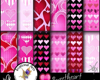 Sweetheart Pinks set 3 - Digital Scrapbooking Papers 12 jpg files 300dpi - Valentines Day Hearts galore [INSTANT DOWNLOAD]