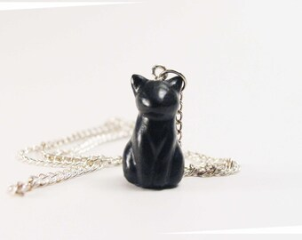 Tiny black cat necklace
