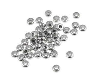 50 3mm Disk Beads - Bright Rhodium Silver Washer Beads - TierraCast Heishi Spacer Beads (PS269)