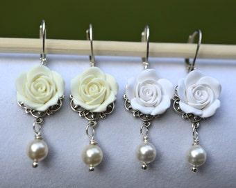 White Rose and Swarovski pearls Earrings, Ivory Rose Flower Earrings, White Flower Earrings, Bridal Rose Earrings, Ivory Wedding Jewelry
