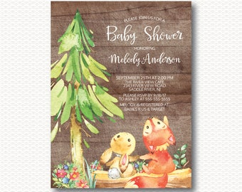 Fox & Bunny Baby Shower Invitation, Cute, Playful, Wood, Baby Shower, Gender Neutral, Boy, Girl, Forest, Unique, Digital, Printable