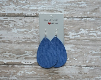 Blue Cobalt Saffiano  Leather Teardrop Drop Earrings