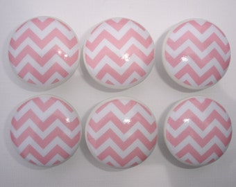 Set of 6 Pink and White Chevron Dresser Drawer Knobs
