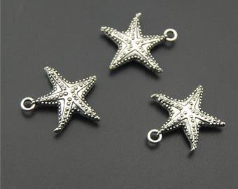 10pcs Antique Silver Starfish Charms Pendant A2211