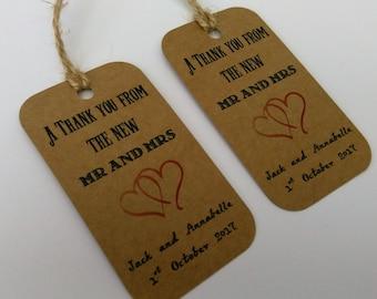 Vintage Wedding tags, Vintage wedding, Wedding thank you tags, Wedding favor tags, Wedding favour tags, Thank you tags, Mr and Mrs tags.