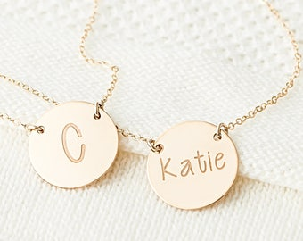 Initial Gold Disk Necklace, Gold Monogram Name Necklace, Custom Initial Necklace, Personalized Jewelry Gift For Her