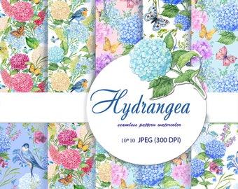 flower pattern,digital paper, hydrangeas flower,,Decorative Paper, seamless pattern,Scrapbooking ,watercolor pattern,flowers watercolor
