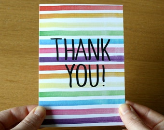 Thank You Card - Greeting Card - Rainbow Stationery - Note Cards - Rainbow Card - Watercolour Stripes - Card and Envelope - Thank You