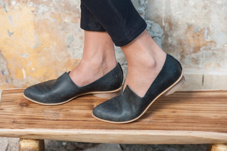 Ladies Brown Leather Slip On Walking Shoes