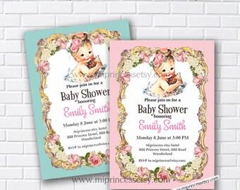vintage baby shower, digital baby shower, baby shower, baby girl shower, it's a girl, baby girl, vintage invitation, digital, card 812