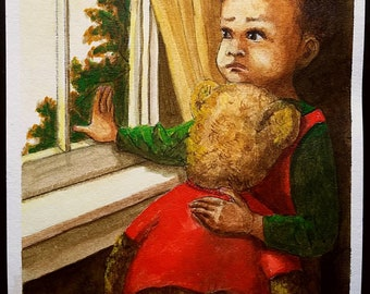 Children paintings, family art, baby boy waiting for Daddy, mothers art work,