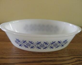 SALE Glasbake Blue on White Casserole