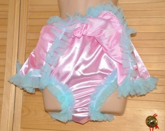 JH 1X - Chiffon lined silky fully skirted sissy silky satin panties, sissy pink,  Sissy Lingerie