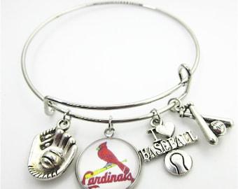 St Louis Cardinals Baseball Charm Bangle Bracelet