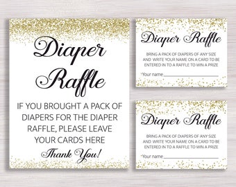 Diaper Raffle Ticket, Diaper Raffle Sign, Baby Shower Games, Gold Confetti Baby  Shower