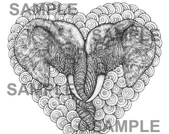 "Digital download-Printable PDF-Coloring Page-Adult Coloring-Printable Wall Art-Art print-Hand-Drawn ""One Love Elephants."""