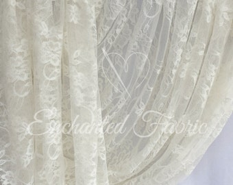 Stretch Lace | Bridal Lace | Vintage Lace | Floral Lace | Newborn Wraps | Maternity Dress Lace | Stretch Lace Fabric | 1301 Ivory