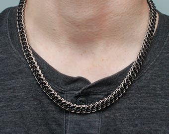 Steel Gift for Him, 11th Anniversary, Mens Chain Necklace, Chainmail Necklace, Men's Biker Gift, Men's Steel Gift, Heavy Chain Necklace, USA
