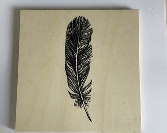 Scrabble wood tyle feather