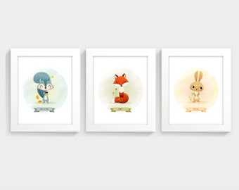 Woodland animal art - Baby room decor, nursery wall art, set of prints, woodland art, rabbit print, fox print, squirrel print, baby art