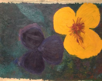 Oil painting of flowers on canvas
