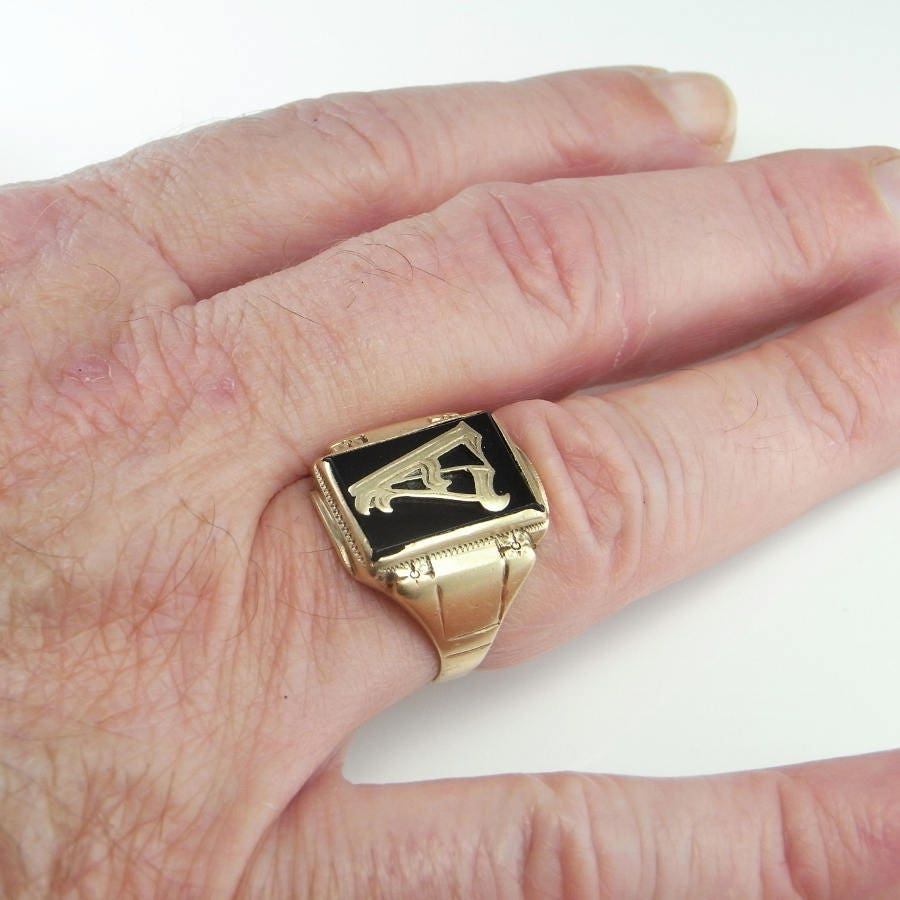 1920\'s Mens Gold Signet Ring Art Deco Gatsby Downton Abbey