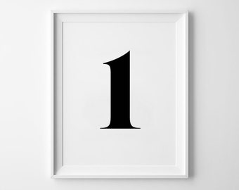 Number One Print, Minimalist Poster, Number Wall Decor, Typography Design, Inspirational Number, Black and White, Numerology
