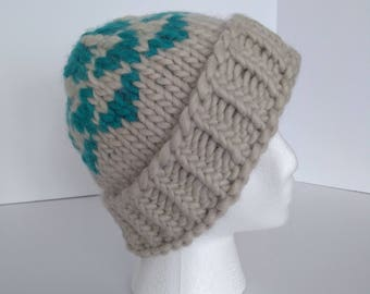 Silver mink, turquoise green, chunky, knit, hat, handknit, winter hat, grey, turquoise
