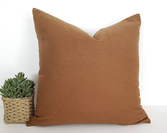 Brown Throw Pillow, Brown Wool Pillow, Solid Brown Pillow Cover, Brown Toss Cushion, Copper Brown Floor Pillow, Accent Pillow, Lumbar Pillow