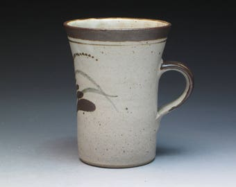 Vintage David Leach Lowerdown Stoneware Mug, Classic Foxglove Decoration, Son of Bernard Leach, St Ives England