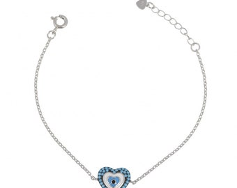 silver sterling 925 bracelet, turquoise heart with an evil eye